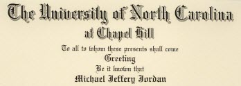 Close up of Michael Jordan's 1986 UNC diploma