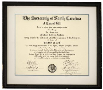 Michael Jordan's 1986 University of North Carolina diploma
