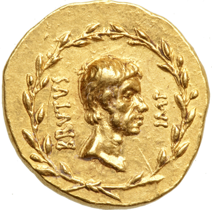 Gold aureus of Marcus Janius Brutus