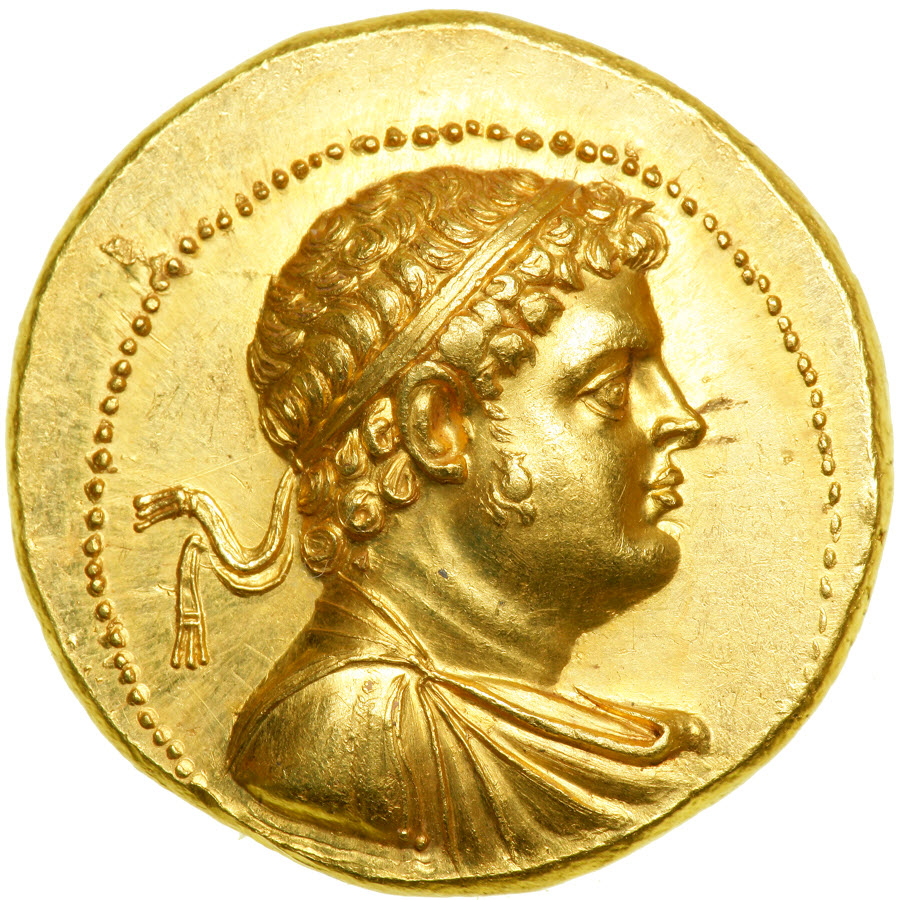 Gold ancient Greece octodrachm of Ptolemy IV Philopator