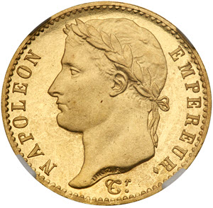 Napoleon's 1815 Proof 20 Francs obverse