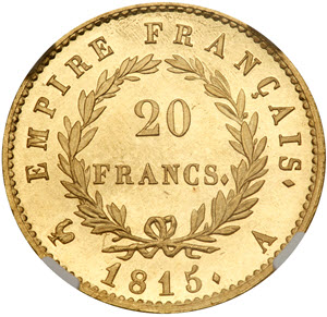 Napoleon's 1815 Proof 20 Francs reverse